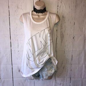 Nike white logo muscle tank top